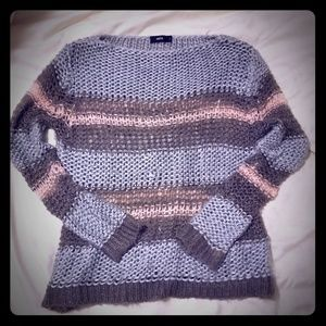 Modcloth Metalic Striped Large Knit Sweater L